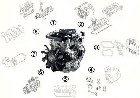 Запчасти к двигателю ISUZU 4HK1-XYSJ02 для JCB: JS240